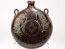 A GARNET-GLAZE COIN PATTERN DESIGN PORCELAIN WINE POT WITH DOUBLE TO FASTEN.C026