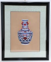 AN EMBROIDERY PICTURE OF CHINESE BLUE AND WHITE PORCELAIN VASE.OH023.