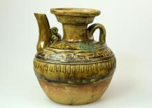 CHINESE MELLOW COLOR GLAZE HAND-CUT STIPPLING HANDLED