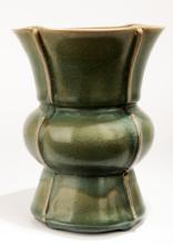 A JUNYAO PLUM CELADON GREEN GLAZE ZUN-FORM VASE.C022