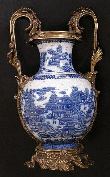 A Chinese ormolu mounted blue & white crackle
