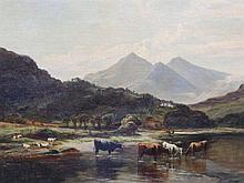 "Benjamin Williams Leader (1831-1923) – oil on canvas laid on board – Lakeland scene with cattle watering in  the foreground, distant hills, signed , 18"" x 26"" - paint loss , also extensive areas of overpainting to corners"