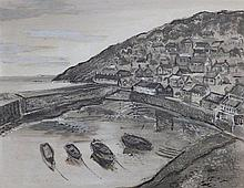 "Fred Yates (1922-2008) – oil on board – Mousehole Harbour, signed, 23.5"" x 29.5"""