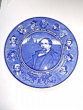 A Royal Doulton blue & white Dickens plate