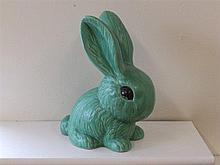 A large Sylvac style green glazed rabbit – 1028