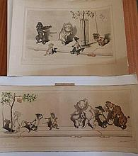 Nine signed French prints – caricatures of dogs – unframed