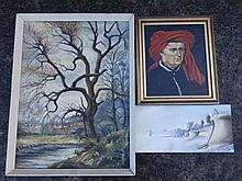 George Dolman – oil self portrait together with two other oils by the artist  (3)