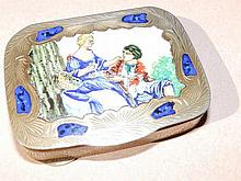 An Italian enamelled white metal case with hinged cover depicting a courting couple