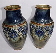 "A pair of Royal Doulton stoneware vases -' LP', 10"" high"