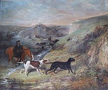 "In the style of George Horlor – oil on re-lined canvas – A ghillie watering his horse accompanied by two dogs, 19"" x 23"""