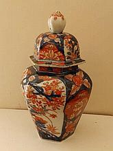 An Imari hexagonal covered vase