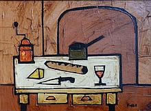 "Colin Ruffell – oil on board – Kitchen interior, signed, 11.5"" x 15"""
