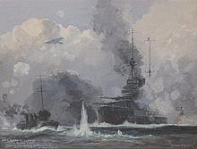 Montague Birrell Black (1884-1964) - gouache -' HMS Queen Elizabeth with Allied Fleet covering the Landing of Allied Forces at Dardanelles' - signed, inscribed & dated (19)15, 12