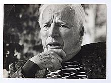 """Lord Snowdon – black & white portrait photograph of an elderly Charlie Chaplin, with studio stamp to verso, dated July '64, numbered  324,  10.75"""" x 15"""" - slight damage"""