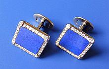 "A pair of Patek Philippe lapis lazuli & diamond cluster style cufflinks, of rectangular plan in 18ct gold – 'PATEK PHILIPPE, GENEVE', 0.75"""