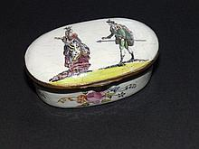 """An 18thC oval enamelled snuff box , decorated transfer printed figures and floral painted sprays, 3"""" across"""