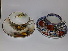 A Royal Worcester cup & saucer painted roses together with a Derby Japan pattern tea cannister & saucer  (4)