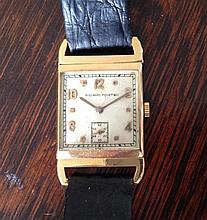 A 1920's gent's 18k Audemars Piguet wrist watch, the square white dial with gold arabic numerals, subsidiary seconds, on swivel lugs – fully serviced movement – dial a/f