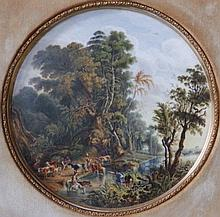 """A 19thC circular polychrome porcelain plaque after Van Ruisdael – Figures, horses & cattle watering, 14"""" in modern 'Rowley Gallery' gilt frame"""