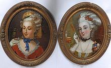 "A pair of Victorian reverse oil paintings on convex glass – Bust length portraits of two fashionable women in 18thC costume, 17.5"" high ovals"