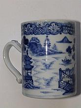 A late 18thC Chinese blue & white porcelain tankard – hairline crack
