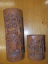 """Two Chinese bamboo brush pots – the larger 13"""" high"""