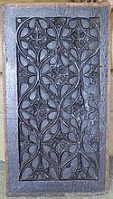 """A 16thC carved oak panel depicting Gothic tracery, 19.5"""" x 11"""""""