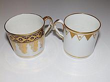 A Spode coffee can in pattern 354 together with a Coalport blue & gilt coffee can (2)