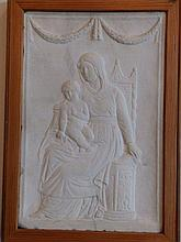 """An antique relief carved alabaster plaque depicting a seated Madonna with Child – possibly 17thC,  15"""" x 9.5"""""""