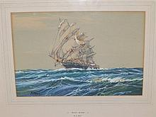 "A. D Bell – watercolour with gouache – 'White Wings', a ship portrait, signed, 9.5"" x 14"""