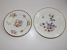 "A Swansea Kakiemon ho-ho bird plate with red mark, 8"" - hairline crack, together with a floral plate in Swansea style , 7""  (2)"