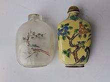 A Chinese enamelled snuff bottle and an internally painted glass snuff bottle (2)