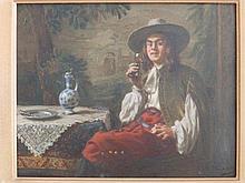 * Albert Schroder (1854-1939) – oil on panel -  Gentleman in 17thC costume, r