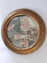 A circular ceramic group portrait plaque painted by Walter Harrowing (anima