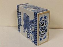 A Chinese blue & white painted porcelain rectangular pillow, decorated figu