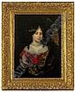 Nicolaes Maes. 1634 Dordrecht - 1693 Amsterdam. Sign. Portrait einer jungen Frau in prachtvollem Gewand mit Perlenkette und Perl- Pendeloque. Seitlich Durchblick in abendliche Landschaft. In typischer meisterlicher Manier. ol/Lwd. 45 x 33 cm. R.