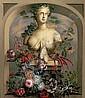 Wiener Maler des 18./19. Jh. Unter Rundbogen weibliche bacchantische Buste mit reichem Blutenschmuck. ol/Lwd. 106,5 x 93,5 cm. R