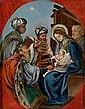Hinterglasbild: Die Anbetung der Könige.