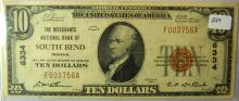 1929 Merchants Bank of South Bend $10.00 Note