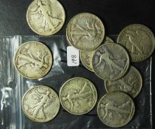 10 Walking Liberty Half Dollars all before 1936