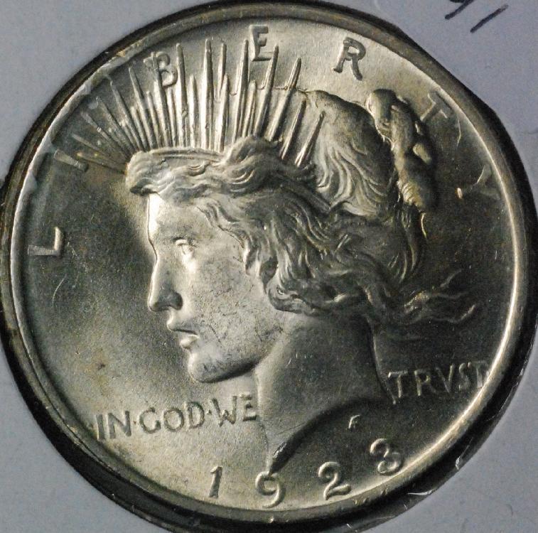 Lot of 3 Peace Dollars, 1922, 1923, 1926
