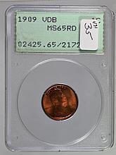 1909 VDB Lincoln Cent MS-65 RD PCGS