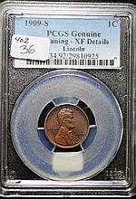 1909-S Lincoln Cent XF Details PCGS