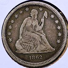 1862 Seated Liberty Quarter.