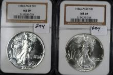 1986 & 1988 American Silver Eagle MS-69 NGC