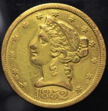 1852 $5.00 Gold Liberty Half Eagle