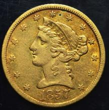 1857 $5.00 Gold Liberty Half Eagle