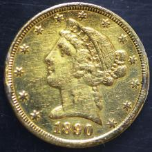 1890-CC $5.00 Gold piece