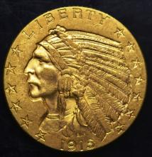 1915 $5.00 Gold Indian Half Eagle
