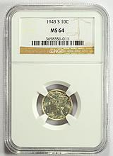 1943-S Mercury Dime MS 64 NGC
